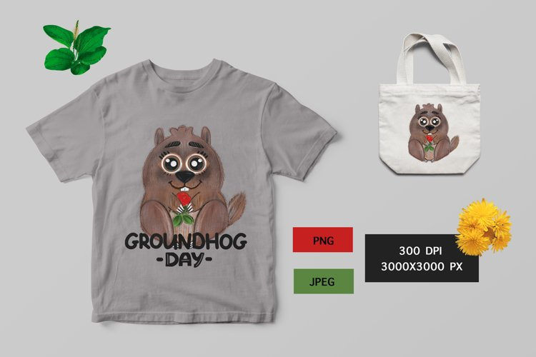 Groundhog day graphic illustration and lettering png, svg example image 1