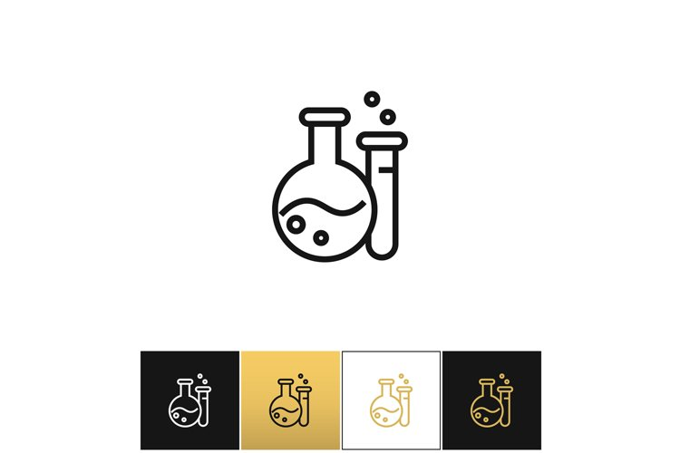 Flask and beaker equipment lab vector icon example image 1