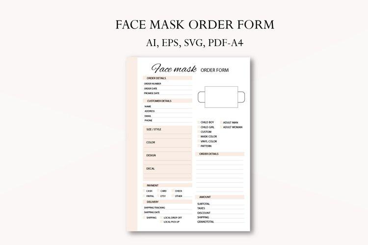 Face mask order form, Business planner