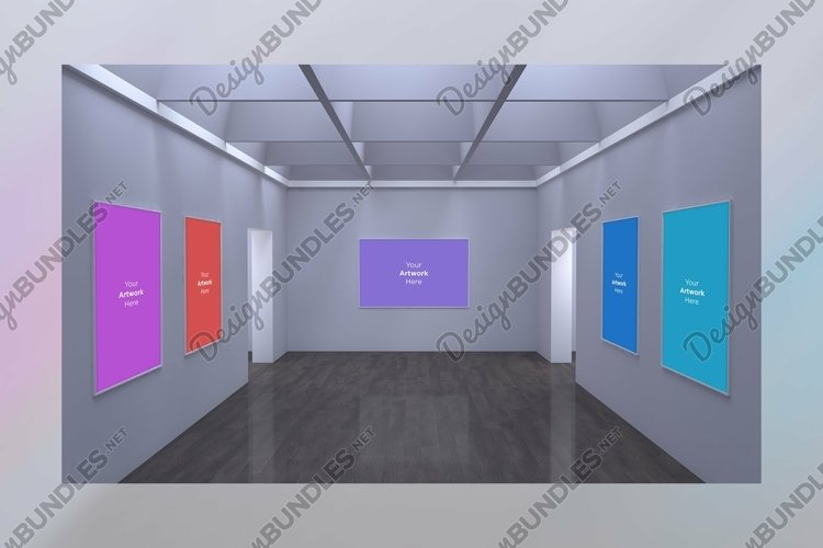 Art Gallery Frames Mockup with different wall example image 1