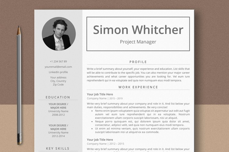 Project Manager Resume Template With Photo example image 1