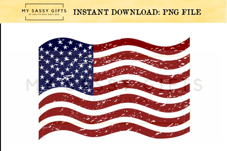 Distressed Patriotic American Flag Graphic Design example image 1
