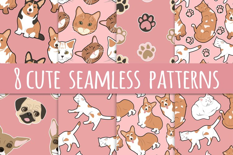 8 cute seamless patterns with pets example image 1