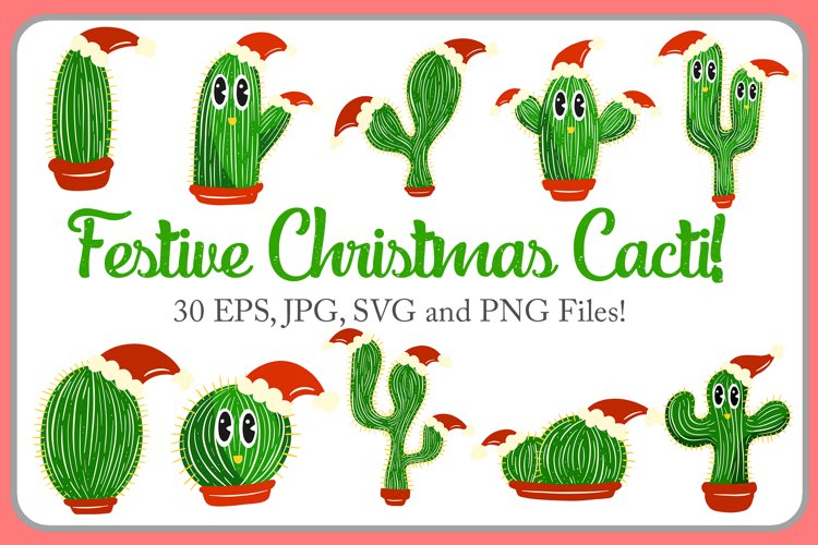 Festive Christmas Cacti Cactus Characters Cartoon Collection example image 1