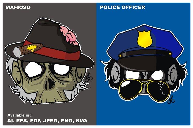 Zombie Invasion Paper Mask - Mafioso vs Police Officer