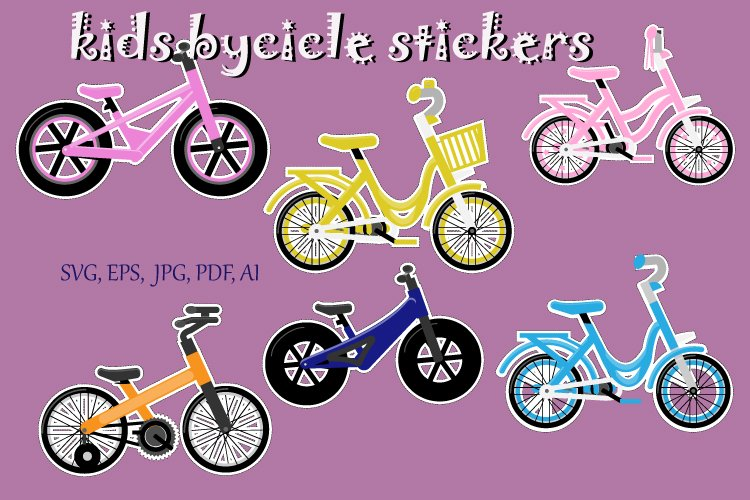 KIds Bicycle stickers pack, Bike for children,