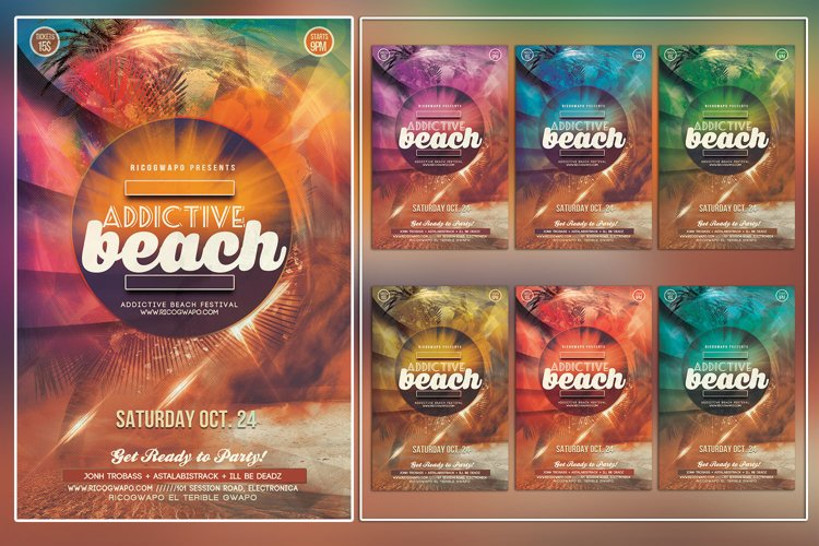Addictive Summer Photoshop Flyer Template example image 1