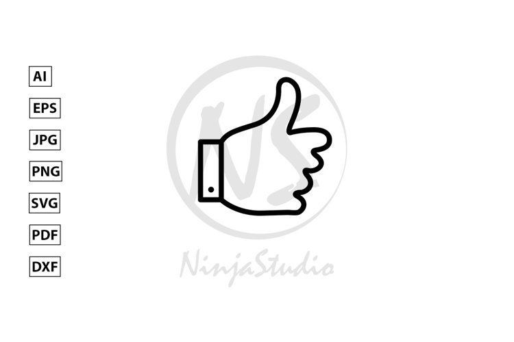 Thumbs up Line Icon In Flat Style Vector example image 1