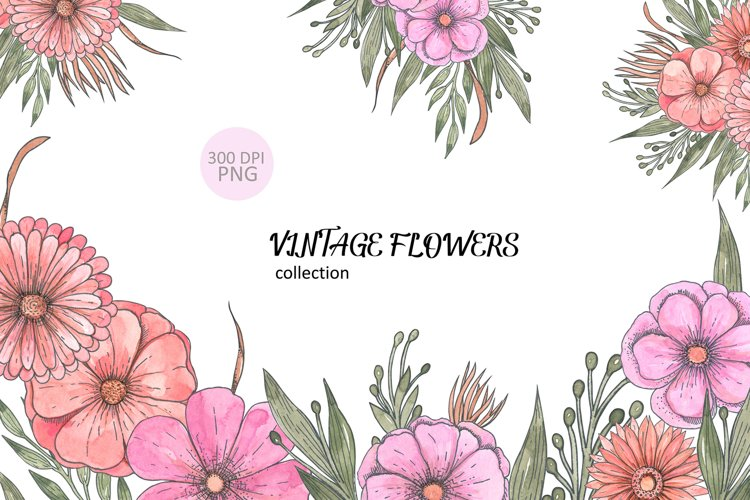 Vintage flowers clipart example image 1