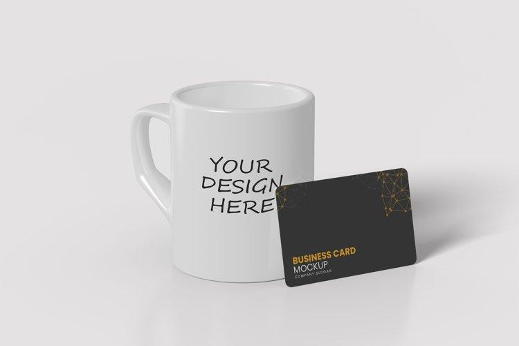 Realistic Mugs and Business Card Mockup PSD