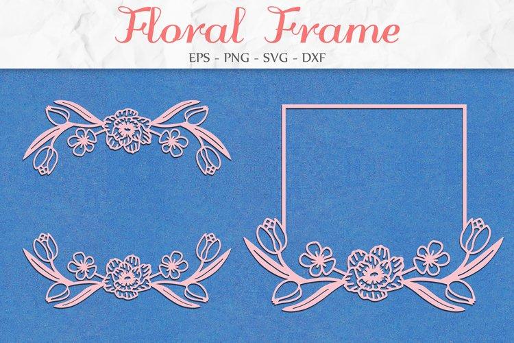 Floral Frame SVG, Flower SVG, Floral Clipart example image 1