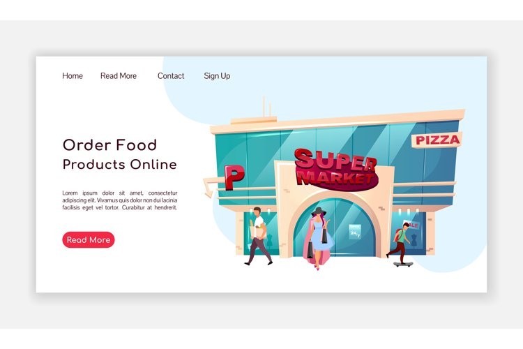 Order food products online landing page flat vector template example image 1