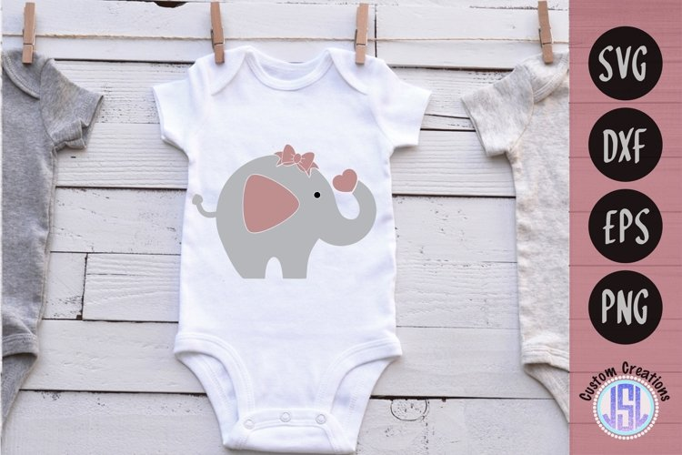 Baby Girl Elephant with Heart | Baby Girl | SVG DXF EPS PNG example image 1