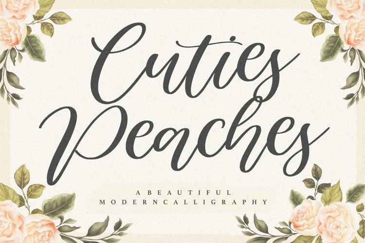 Cuties Peaches Beautiful Modern Calligraphy Font example image 1