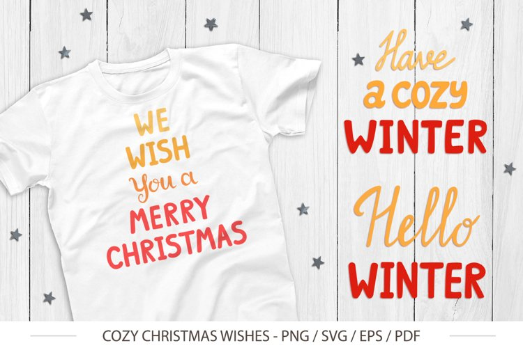Cute Christmas Wishes for design - SVG, PNG example image 1