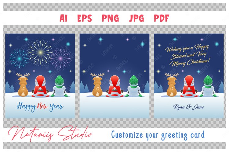 Santa Claus, Reindeer and Snowman watching the Fireworks. example image 1