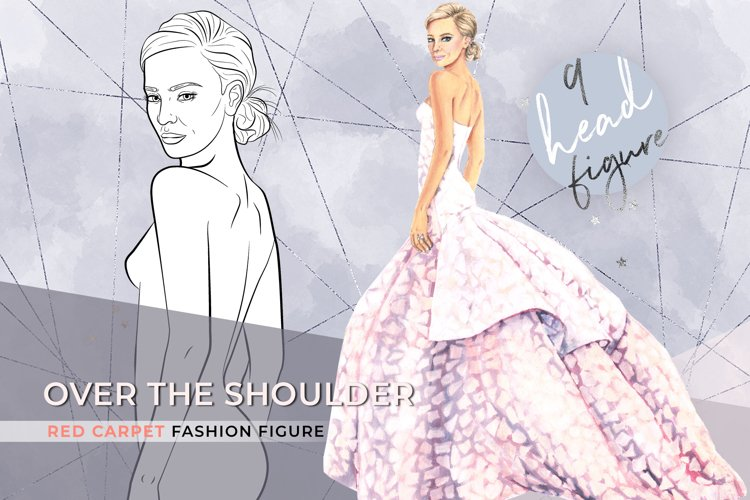 Over the shoulder, 9 heads fashion croqui template