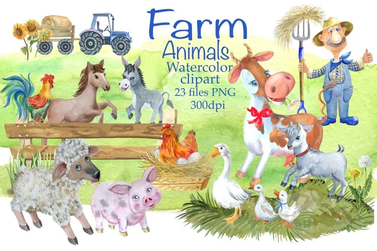Animals farm,watercolor Clipart.