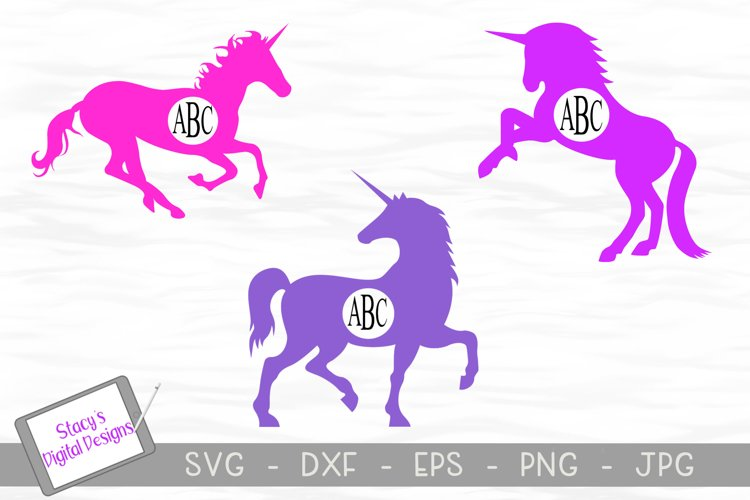 Unicorn Monogram Frame SVG bundle - 3 unicorn designs