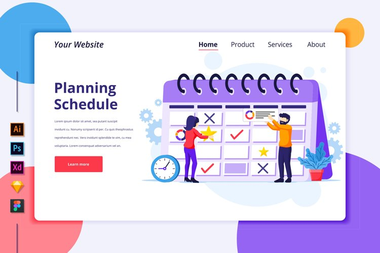 Landing page template of Business planning Illustration