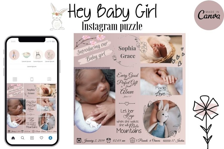Canva Instagram Puzzle Template - Birth Announcement