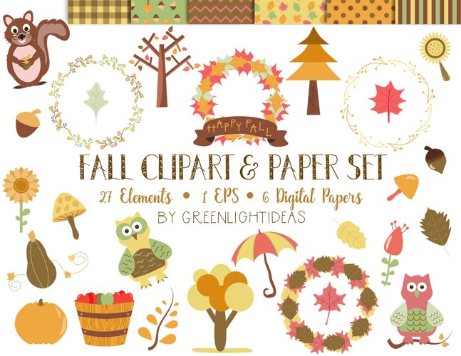 Fall Clipart Set and Digital Papers example image 1