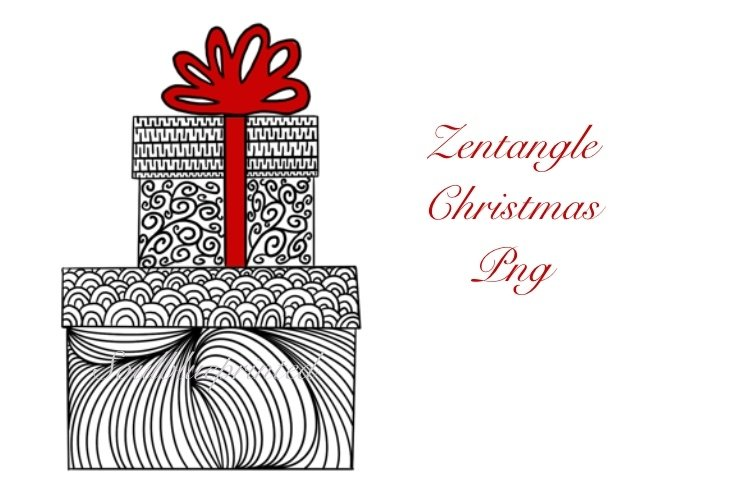 Zentangle Christmas Gift PNG. Doodle Art Design. Presents. example image 1