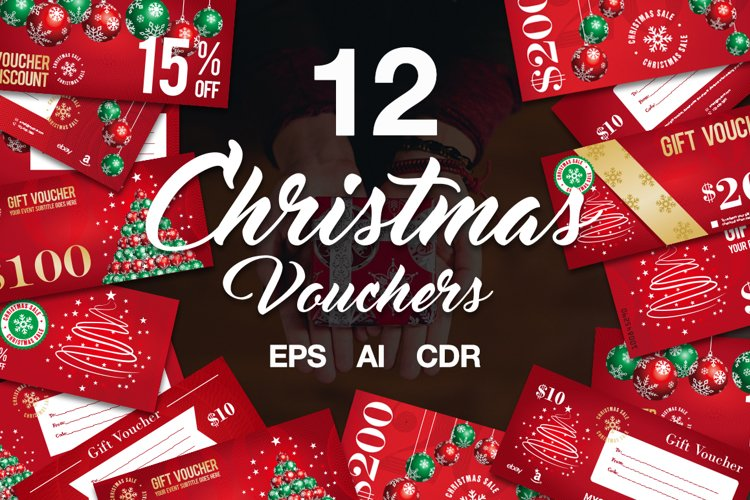 12 Christmas Voucher Template AI EPS CDR example image 1