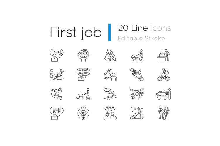 Teenager work experience linear icons set example