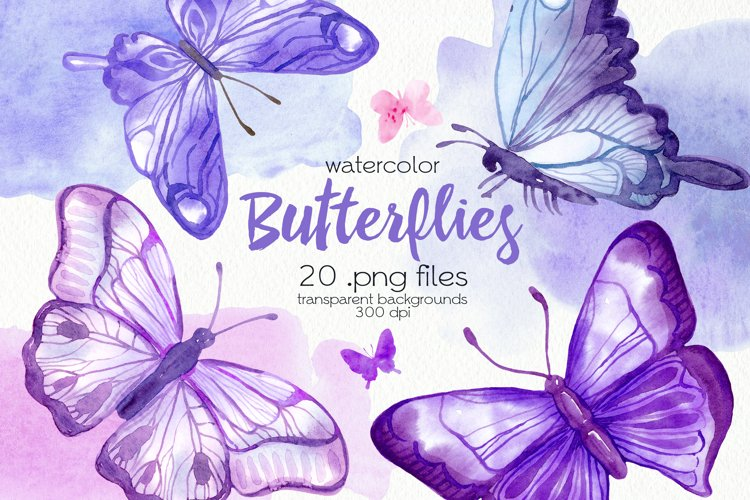 Watercolor Purple Butterflies - PNG Files example image 1