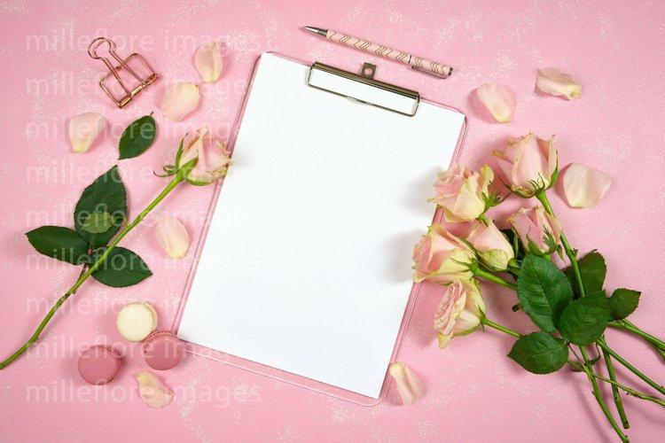 Mothers Day Blush Pink Desk Clipboard Mockup Styled Photo