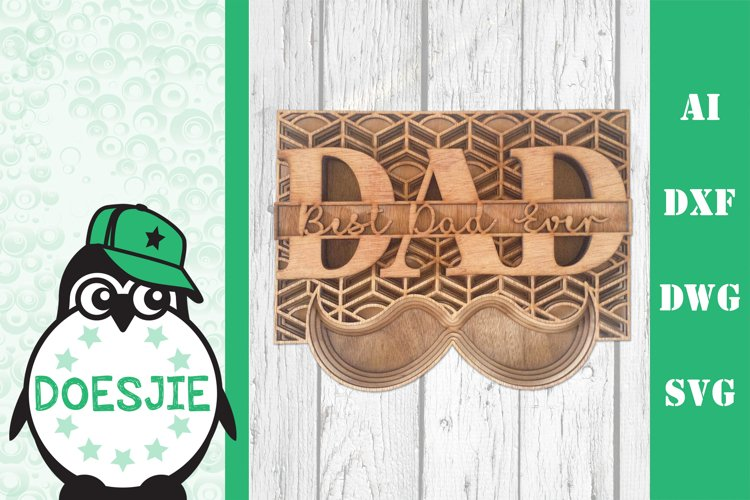 3d svg layered Multi layer mandala best dad ever fathers day