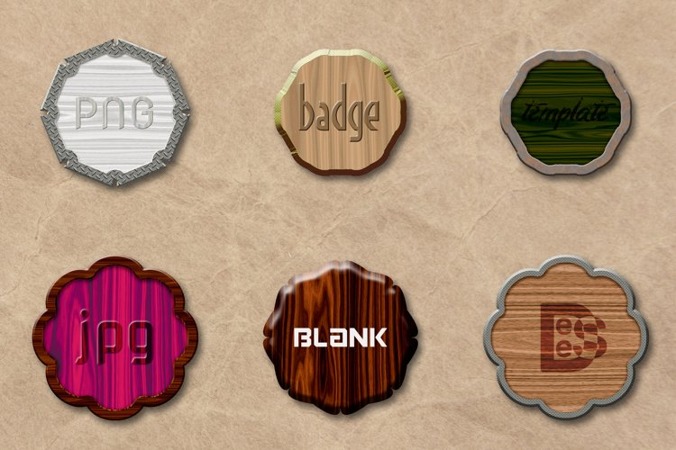 6 Wooden Blank badge set. 3D rendering illustration. example image 1
