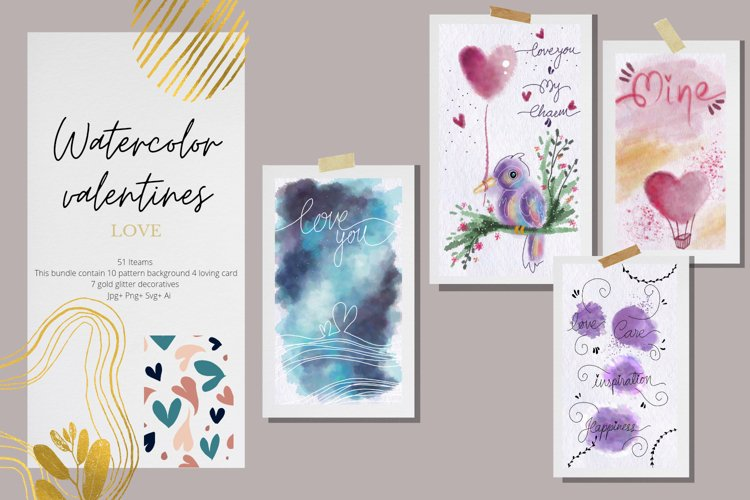 Watercolor Valentines Collection
