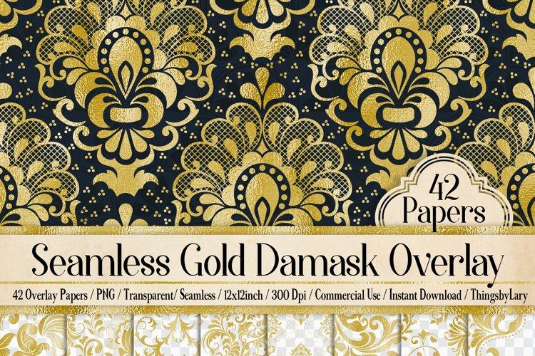 42 Gold Foil Seamless Damask Ornament Transparent Overlays example image 1