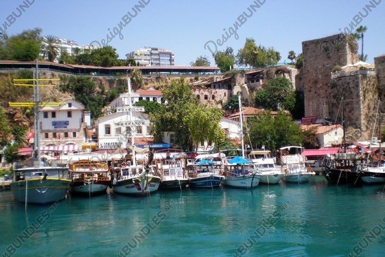 Cruise yachts near the port of the old city Kaleici example image 1