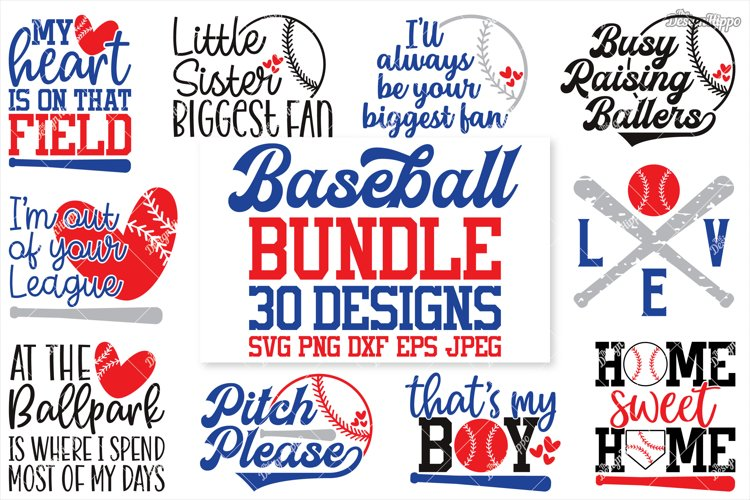 Baseball SVG Bundle, 30 Designs, DXF PNG EPS Cutting Files