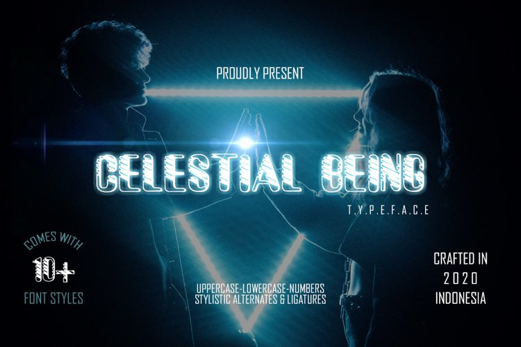 Celestial Being - 13 Font styles and 150 Swashes