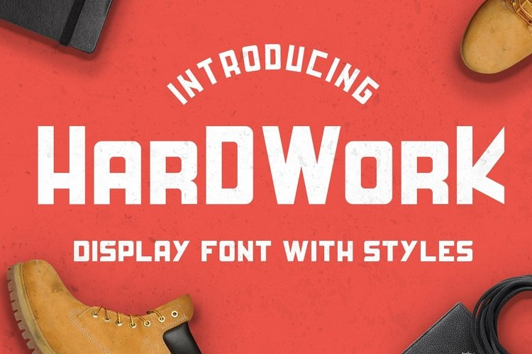 HardWork - Display Font With Styles / Font Logo