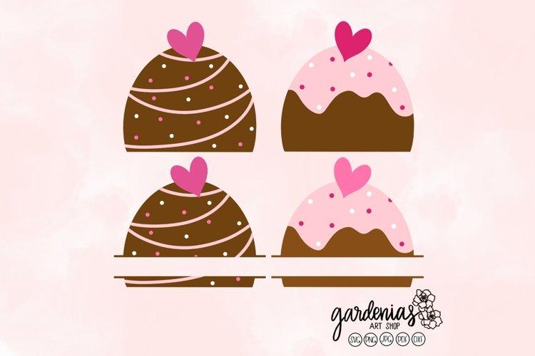 Chocolate Split Monogram | Truffle Cut File | Dessert Design
