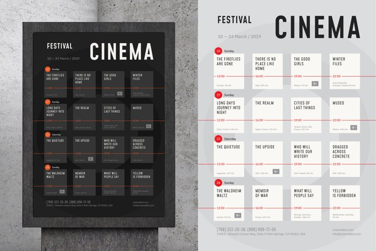Film Festival Schedule Poster example image 1