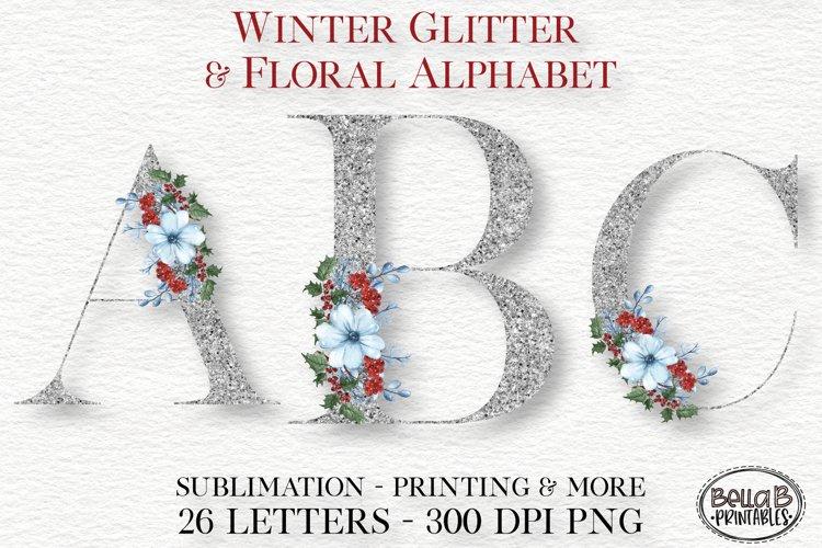 Winter Glitter Floral Alphabet Set, Sublimation Alphabet