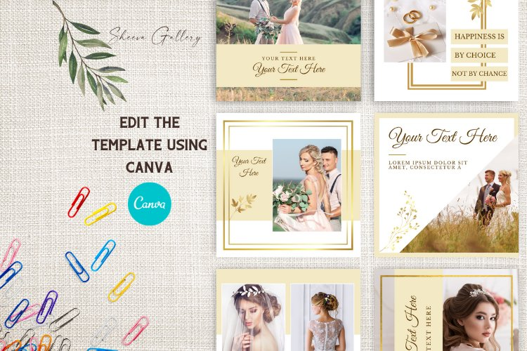 Instagram Puzzle Template for Canva | Beige & Gold Wedding