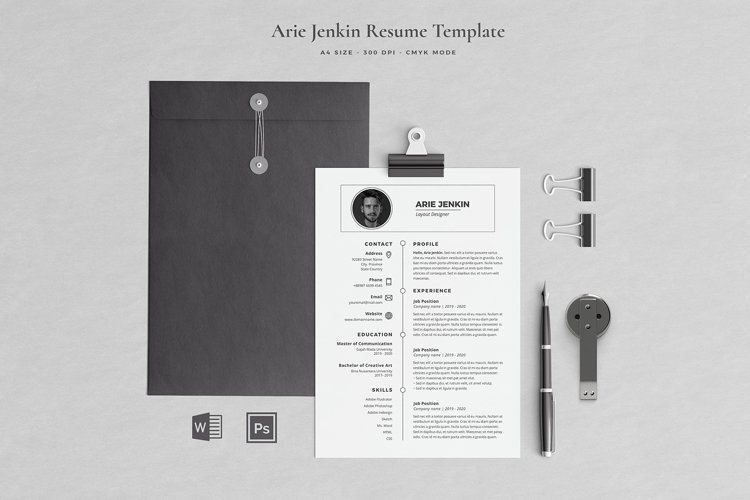 Arie Resume with Cover Letter Professional Template example image 1