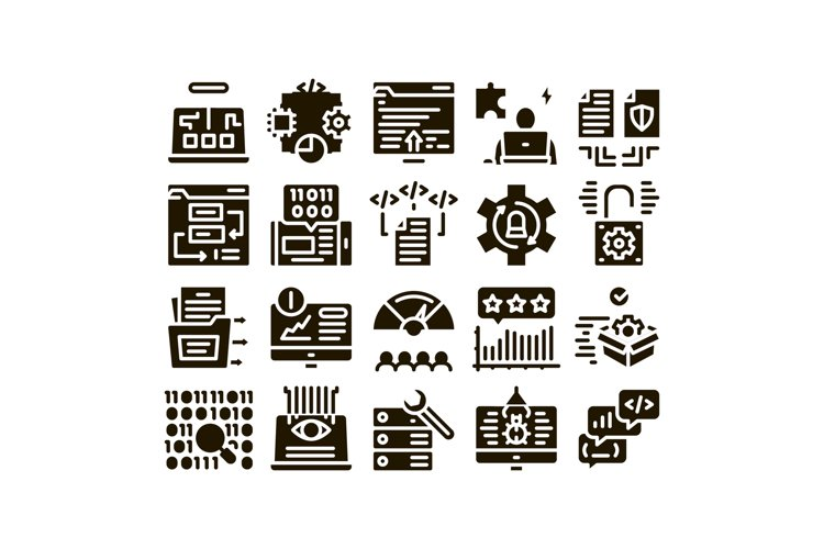 Software Testing And Analysis Icons Set Vector example image 1