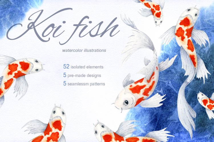 Koi fish. Watercolor set example image 1