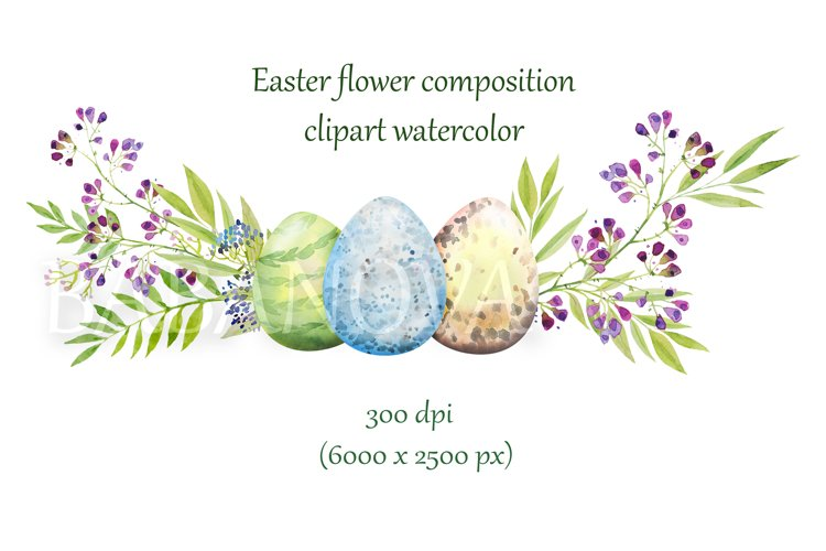 Easter floral composition with flowers and eggs example image 1