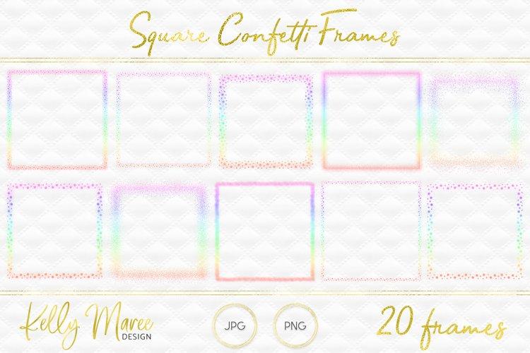 Pastel Rainbow Square Confetti Frames