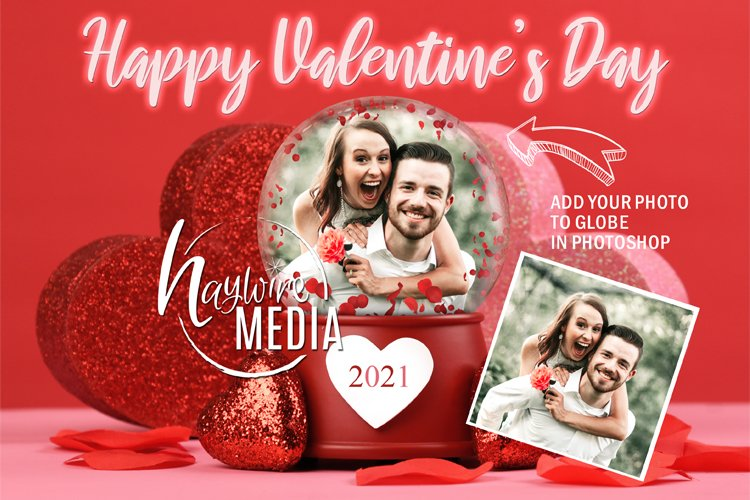 Valentines Day Love Globe Digital Photo Gift, PNG & PSD