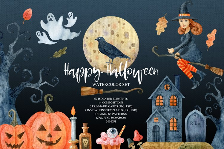 Happy Halloween watercolor set example image 1